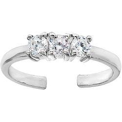 Signature Silver Three Stone Toe Ring