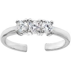 Silver Three Stone Toe Ring