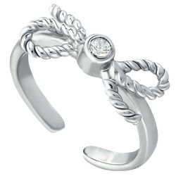 Signature Silver Bow Cubic Zirconia Toe Ring