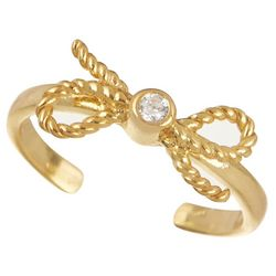 Signature Gold Bow Cubic Zirconia Toe Ring