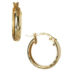 Signature Gold Plated Light Cut Hoop Earrings
