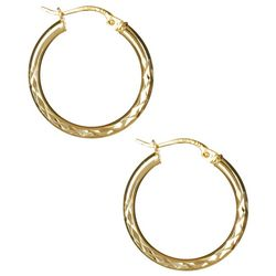 Signature Diamond Cut Hoop Earrings