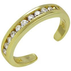 Signature Gold Tone Rhinestone Channel Toe Ring