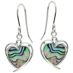 Beach Chic Boxed Abalone Shell Heart Drop Earrings