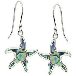 Beach Chic Abalone Starfish Drop Earrings