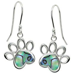 Beach Chic Abalone Paw Print Drop Earrings