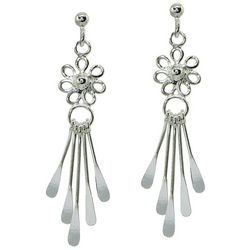 Signature Post Top Flower Drop Dangle Earrings
