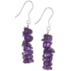 Signature Amethyst Stone Chip Dangle Earrings