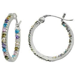 Signature Multi Pastel CZ Stone Hoop Earrings