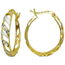 Signature Two Tone Oval Cut Out Hoop Earrings