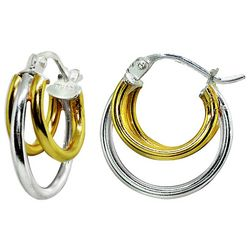 Signature Two Tone 3 Row Hoop Earrings