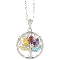 Signature Sterling Silver CZ Tree Of Life Necklace