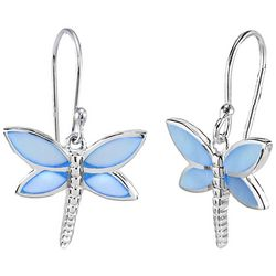 Beach Chic Blue Shell Dragonfly Dangle Earrings