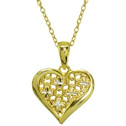 Signature Two Tone Diamond Cut Heart Shaped Pendant Necklace