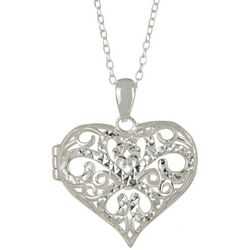 Signature Filigree Puffy Heart Locket Pendant Necklace
