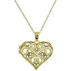 Signature 18K Gold Plated Filigree Heart Locket Necklace