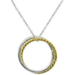 Signature Two Tone Double Round Circle Pendant Necklace