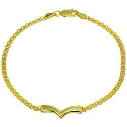 Signature 18K Gold Sterling Silver V Chain Link Bracelet