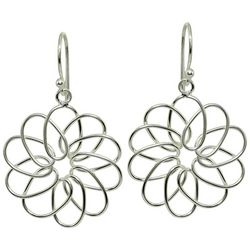 Signature Sterling Silver Open Flower Drop Earrings