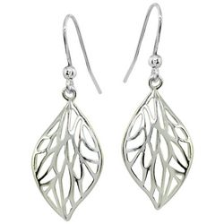 Signature Sterling Silver Cutout Leaf Drop Earrings