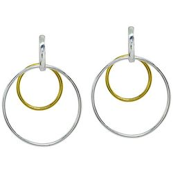 Signature Two Tone Double Circle Drop Earrings
