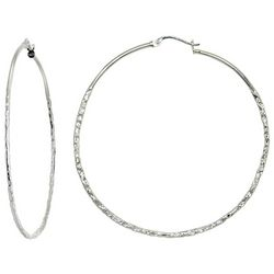 Signature Sterling Silver 50mm Textured Hoop Earrings