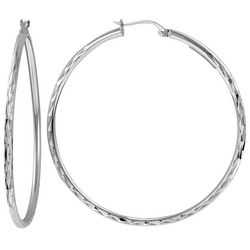 Signature Sterling Silver Diamond Cut Hoop Earrings