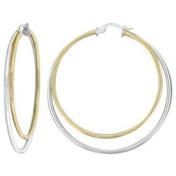 Signature Two Tone Round Double Hoop Earrings