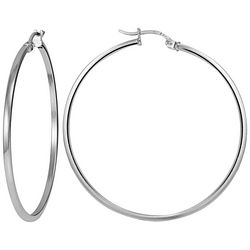 Signature Sterling Silver Polished Squared Hoop Earrings