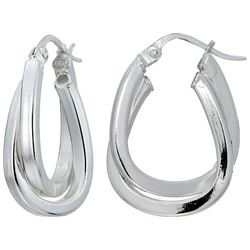 Signature Sterling Silver Double Row Twist Hoop Earrings