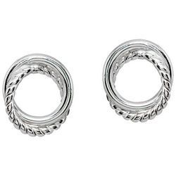 Signature Sterling Silver Twist Circle Button Earrings