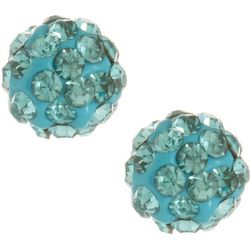 Signature Aqua Crystal Stud Earrings