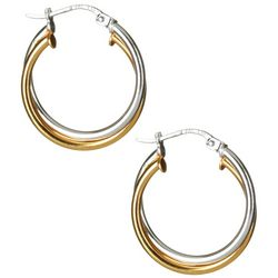 Signature Two Tone Smooth Double Hoop Earrings
