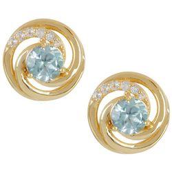 Signature Crystal Aquamarine Swirl Stud Earrings