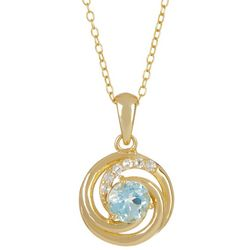 Signature Gold Plated Aquamarine Crystal Necklace