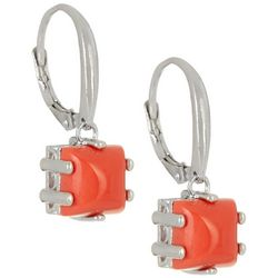 Signature Coral Cabochon Drop Earrings