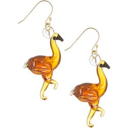 Signature Copper Glass Flamingo Drop Earrings