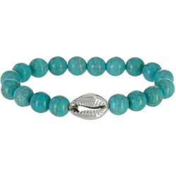 Beach Chic Turquoise Blue Bead & Cowrie Bracelet