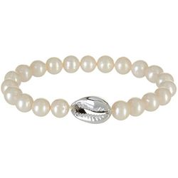 Beach Chic Glass Pearl & Cowrie Stretch Bracelet