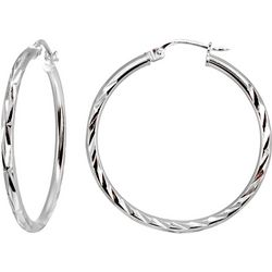 Signature Sterling 35MM Diamond Cut Hoop Earrings