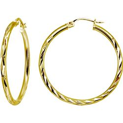 Signature Gold Plated 35MM DC Hoop Earrings