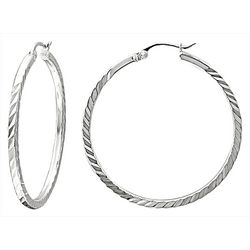 Signature 35MM Sterling DC Squared Hoop Earrings