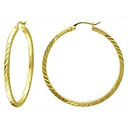 Signature 35MM Gold Plate DC Squared Hoop Earrings