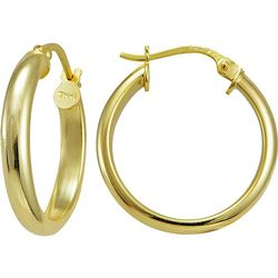 Signature 20MM Gold Plate Half Round Hoop Earrings
