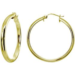 Signature 25MM Gold Plate Half Round Hoop Earrings