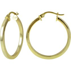 Signature 25MM Squared Gold Plate Hoop Earrings