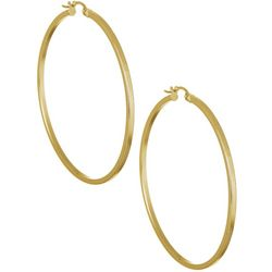 Signature 42MM Gold Plated Squared Tube Hoop Earri
