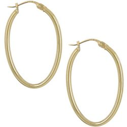 Signature Oval Gold Plated Hoop Earrings