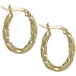 Signature Twisted Gold Plated Hoop Earrings