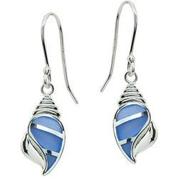 Beach Chic Blue & Silver Tone Conch Shell Earrings